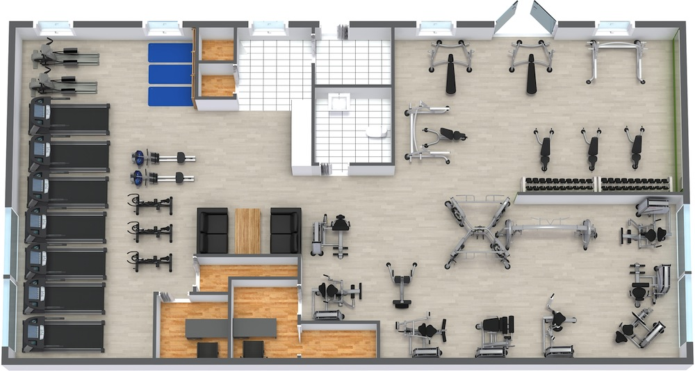 Fix fitness gym design and layout for Fitness center floor plan